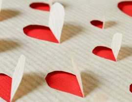 hearts on a kraft paper