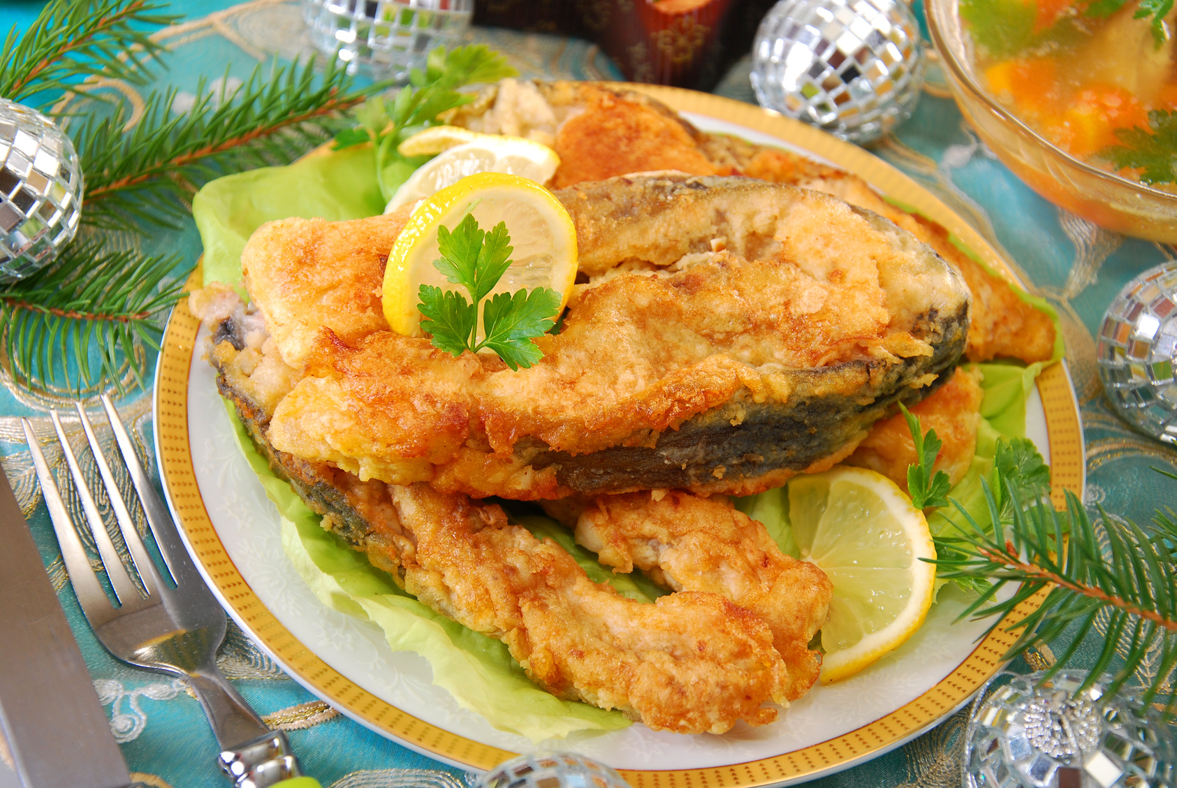 deep-fried carp steaks for traditional polish christmas eve
